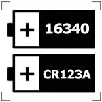Работает от 1аккумулятора 16340 или CR123A
