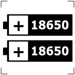 Работает от 2 аккумуляторов 18650 (батарейный блок)