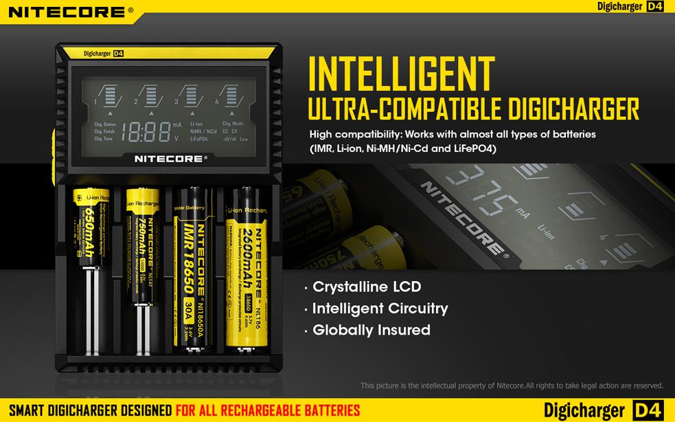 Универсальное зарядное устройство NiteCore Digicharger D4