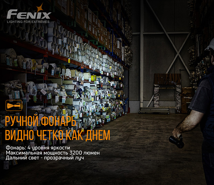 Фонарь Fenix WT50R, 3200 лм, USB Type-C, PowerBank