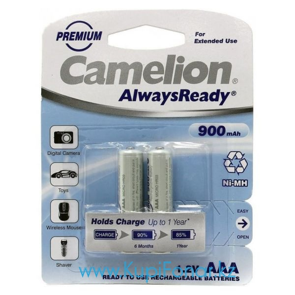 Аккумулятор NiMH Camelion AlwaysReady ААА/HR03 900мАч, 2шт в блистере (NH-AAA900ARBP2)