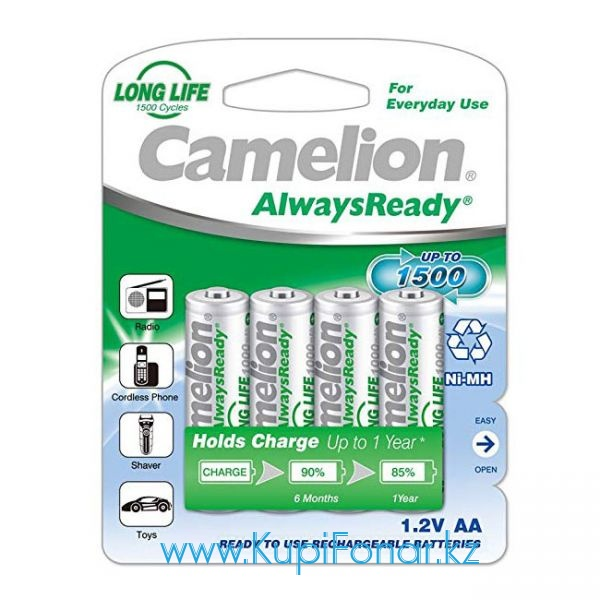 Аккумулятор NiMH Camelion AlwaysReady АА/HR6 1000мАч, 4шт в блистере (NH-AA1000ARBP4)